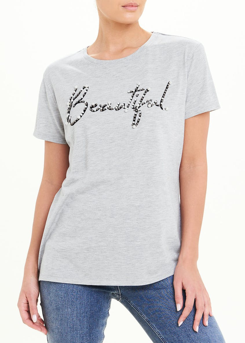 Beautiful Embellished Slogan T-Shirt