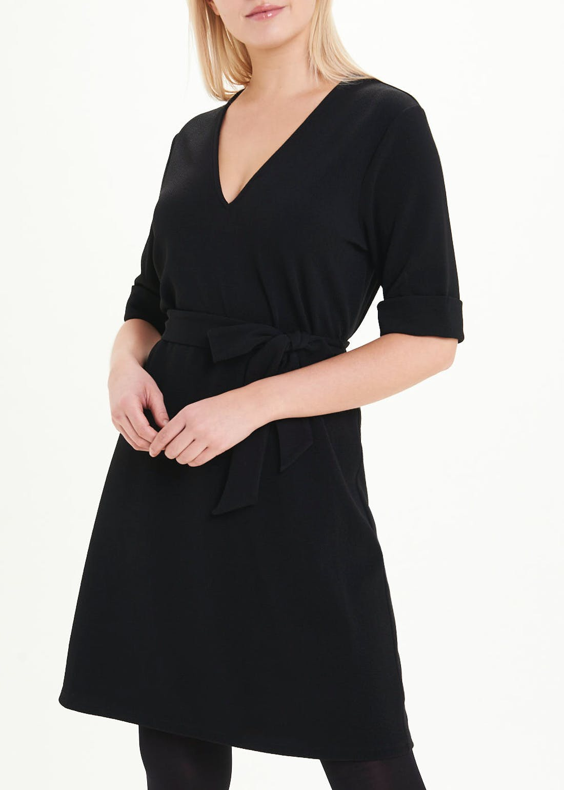 Black Short Sleeve Belted Jersey Mini Dress