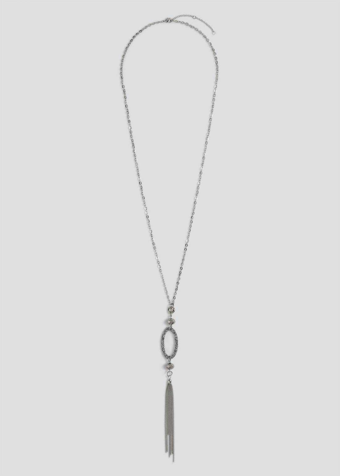 Oval Faceted Bead Lariat Necklace