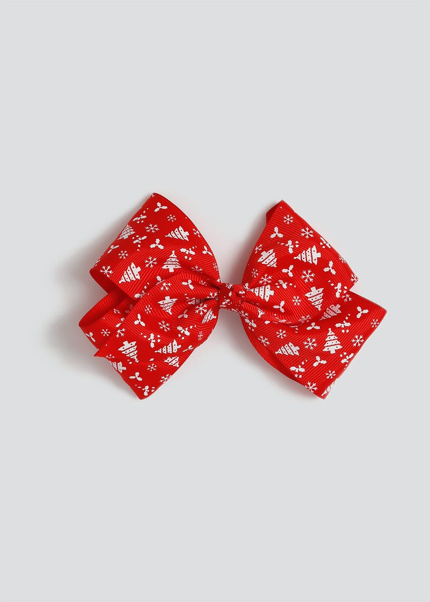 Girls Christmas Red Bow