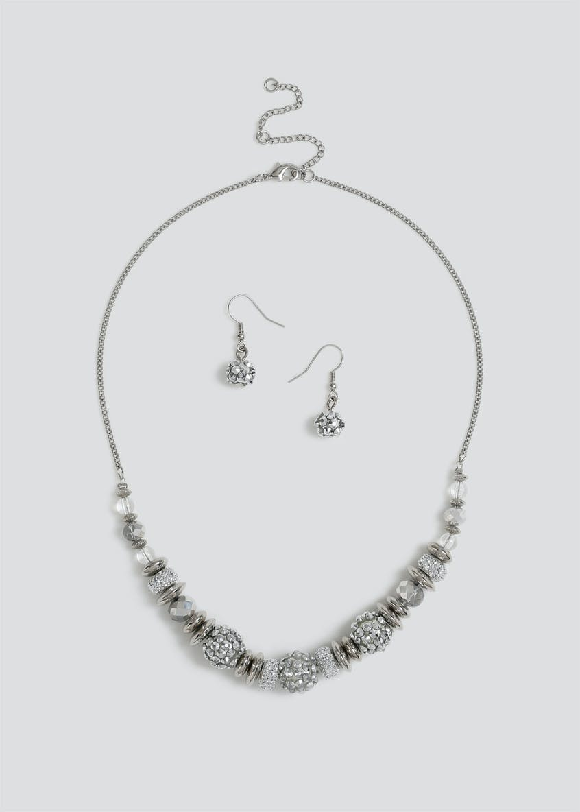 Shamballa Bead Necklace & Earrings Set