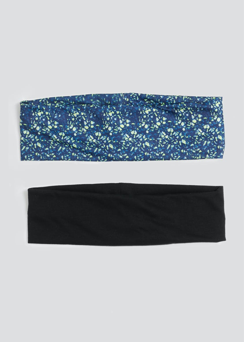 2 Pack Wide Printed Jersey Headbands