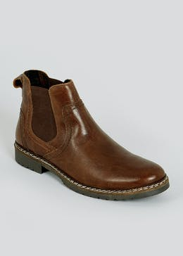 Brown Real Leather Chelsea Boots