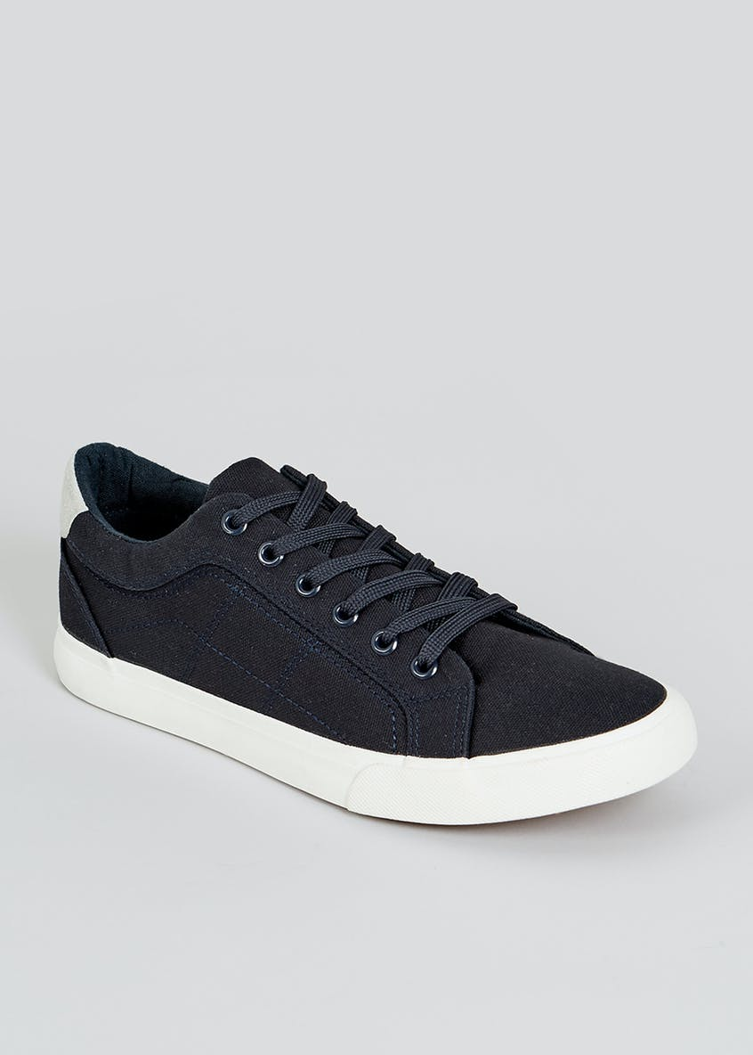 Navy Lace Up Canvas Trainers