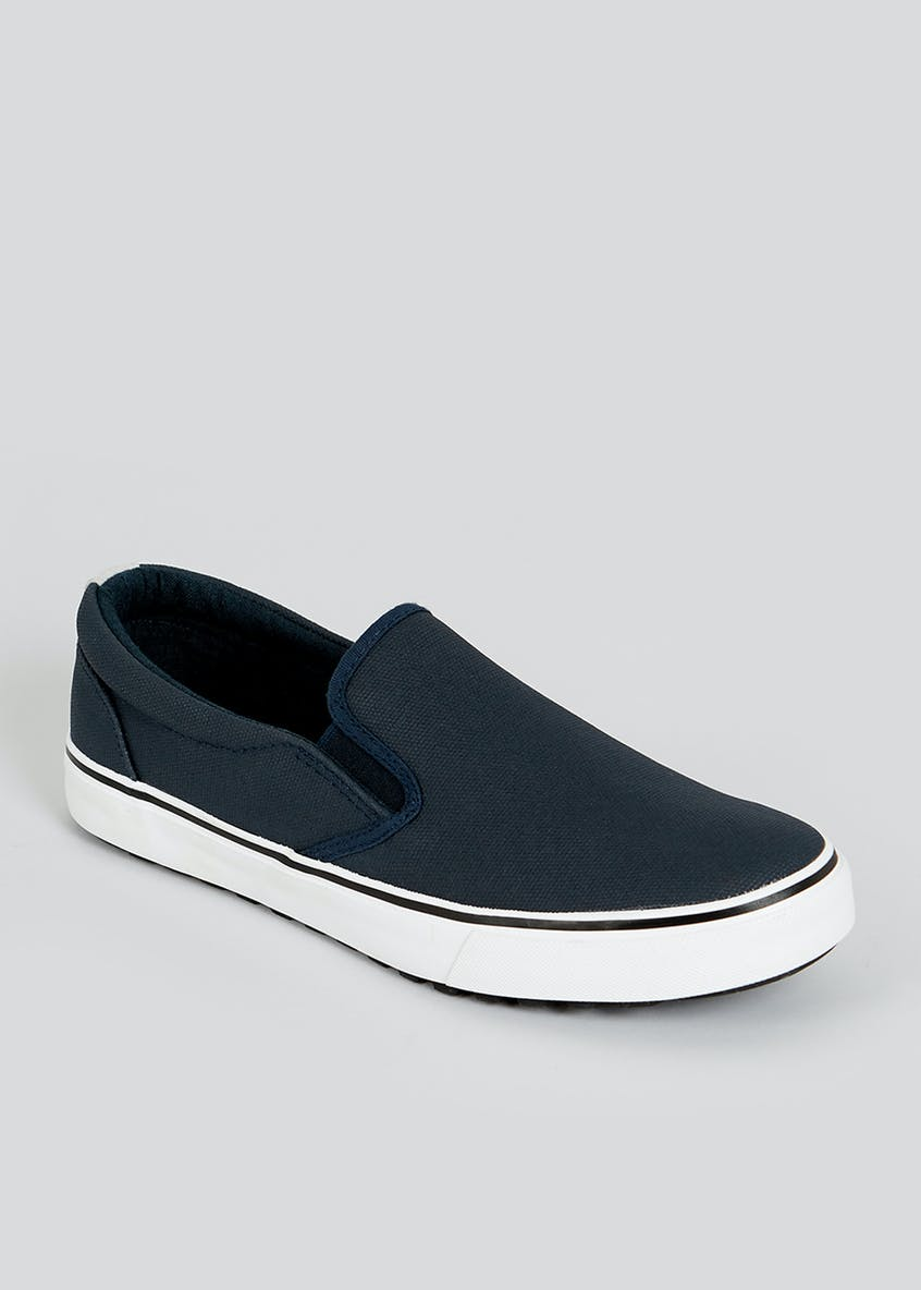 Navy Twin Gusset Slip On Shoes