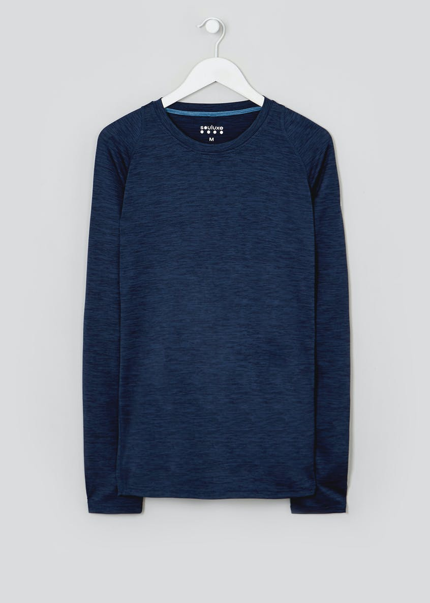 Souluxe Navy Long Sleeve Gym Top