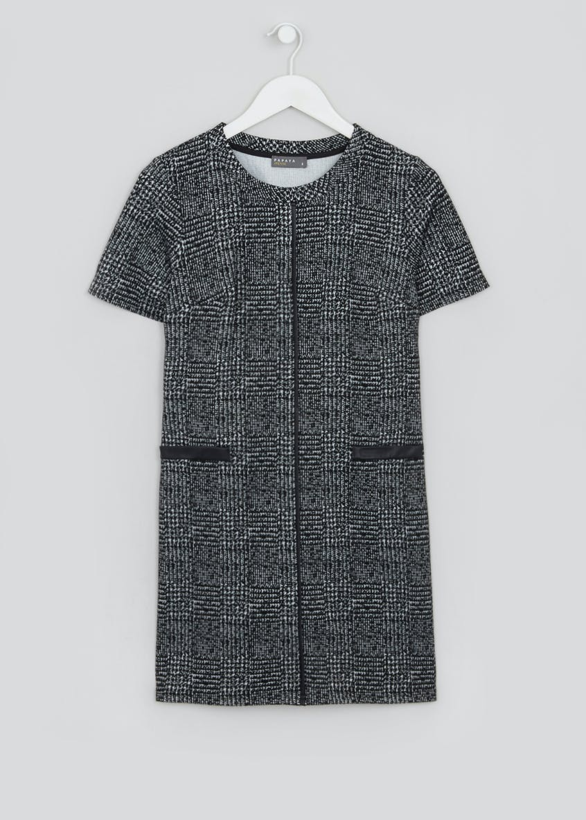 Papaya Petite Grey Short Sleeve Textured Check Ponte Dress