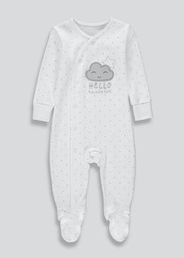 Unisex Hello I'm New Here Baby Grow (Tiny Baby-18mths)