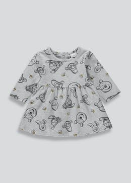 Girls Grey Winnie The Pooh Dress (Newborn-18mths)
