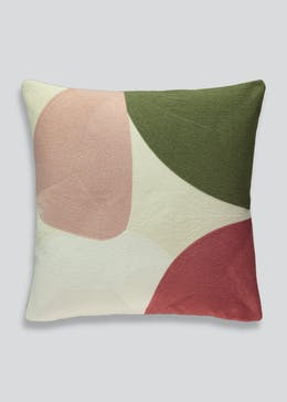Embroidered Colour Block Cushion (46cm x 46cm)