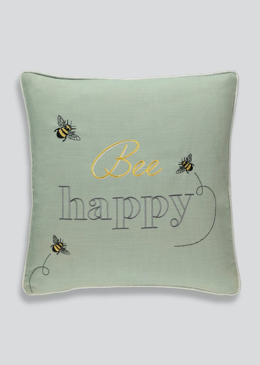 Bee Happy Embroidered Cushion (46cm x 46cm)