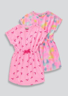 Girls 2 Pack Short Sleeve Dresses (4-13yrs)