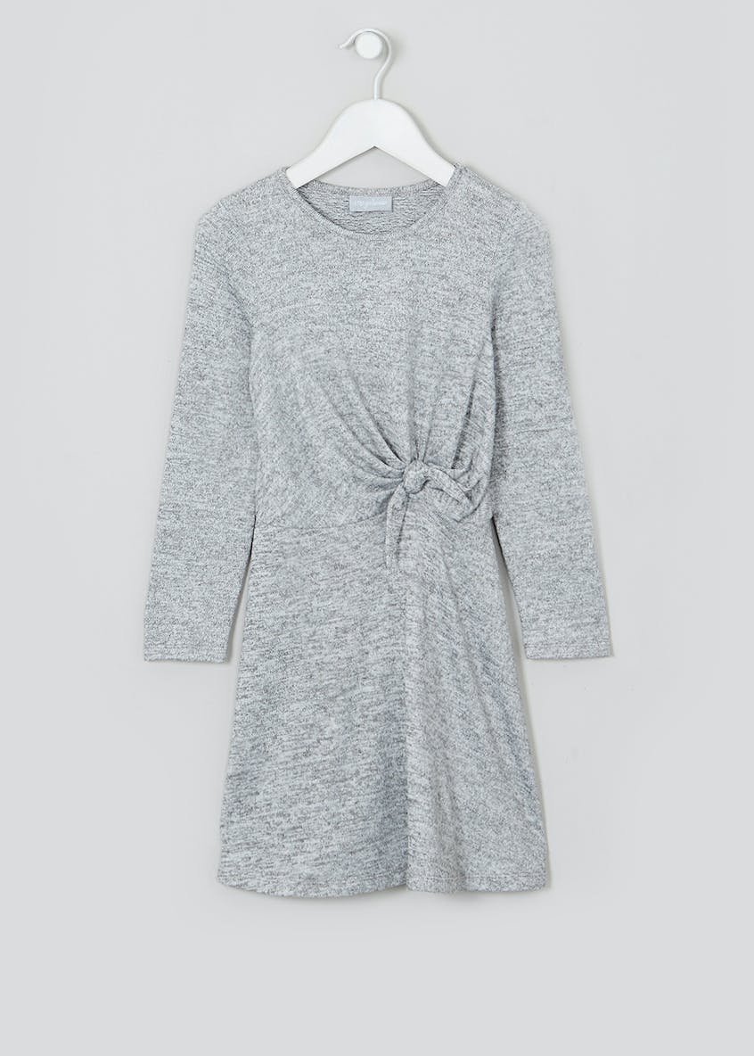 Girls Grey Long Sleeve Tie Front Dress (4-13yrs)