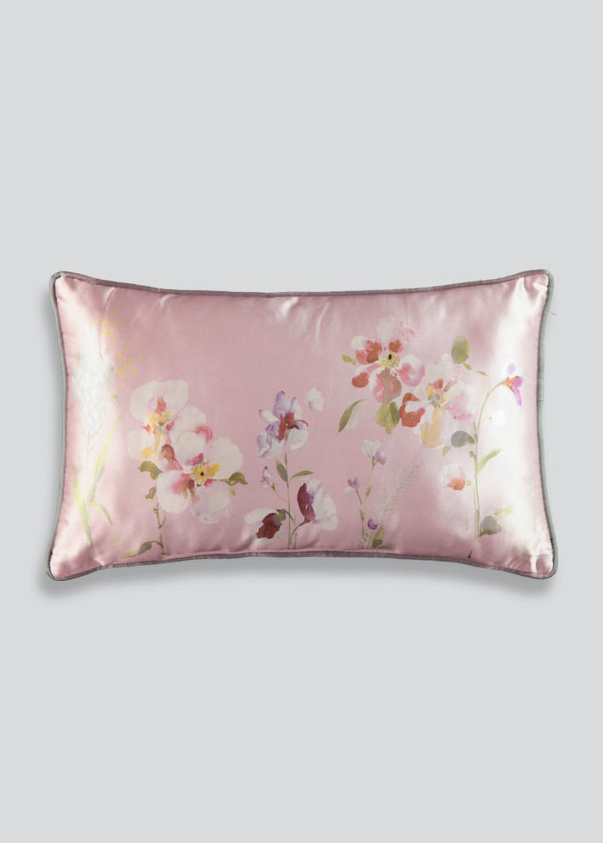 Floral Satin Cushion (50cm x 30cm)