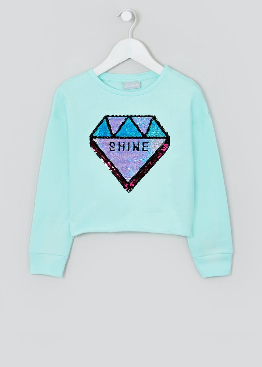 Girls Sequin Diamond Cropped Sweatshirt (4-13yrs)