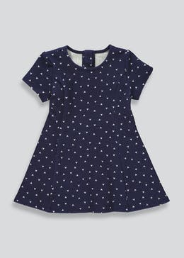 Girls Navy Short Sleeve Heart Print Dress (9mths-6yrs)