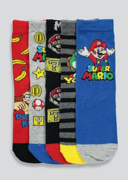 Kids 5 Pack Super Mario Socks (Younger 6-Older 6.5)