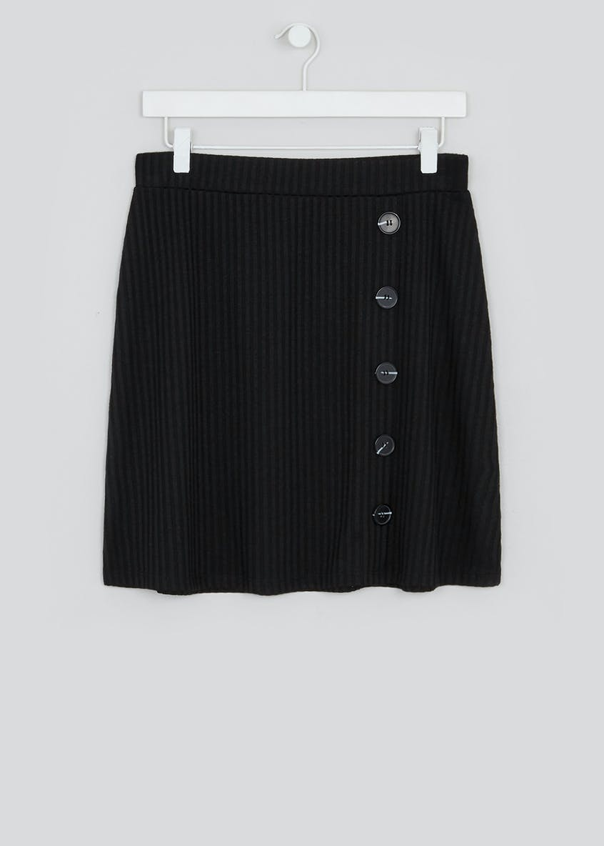 Ribbed Jersey Button Side Mini Skirt