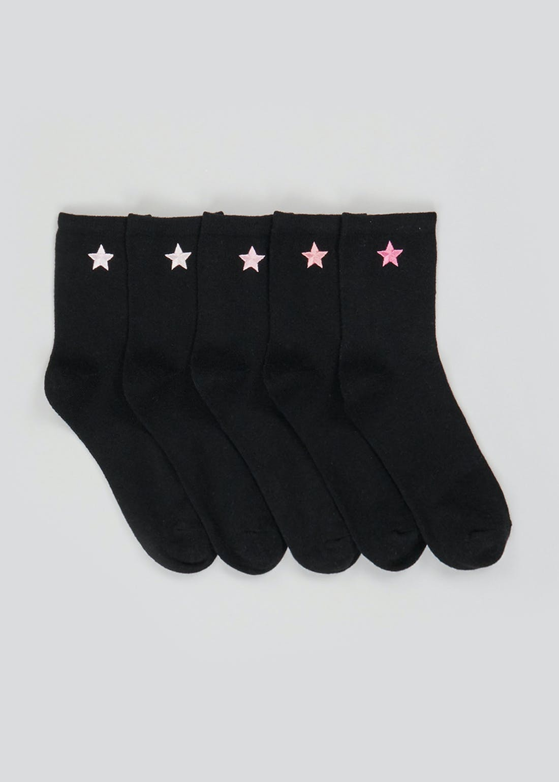 5 Pack Embroidered Star Socks