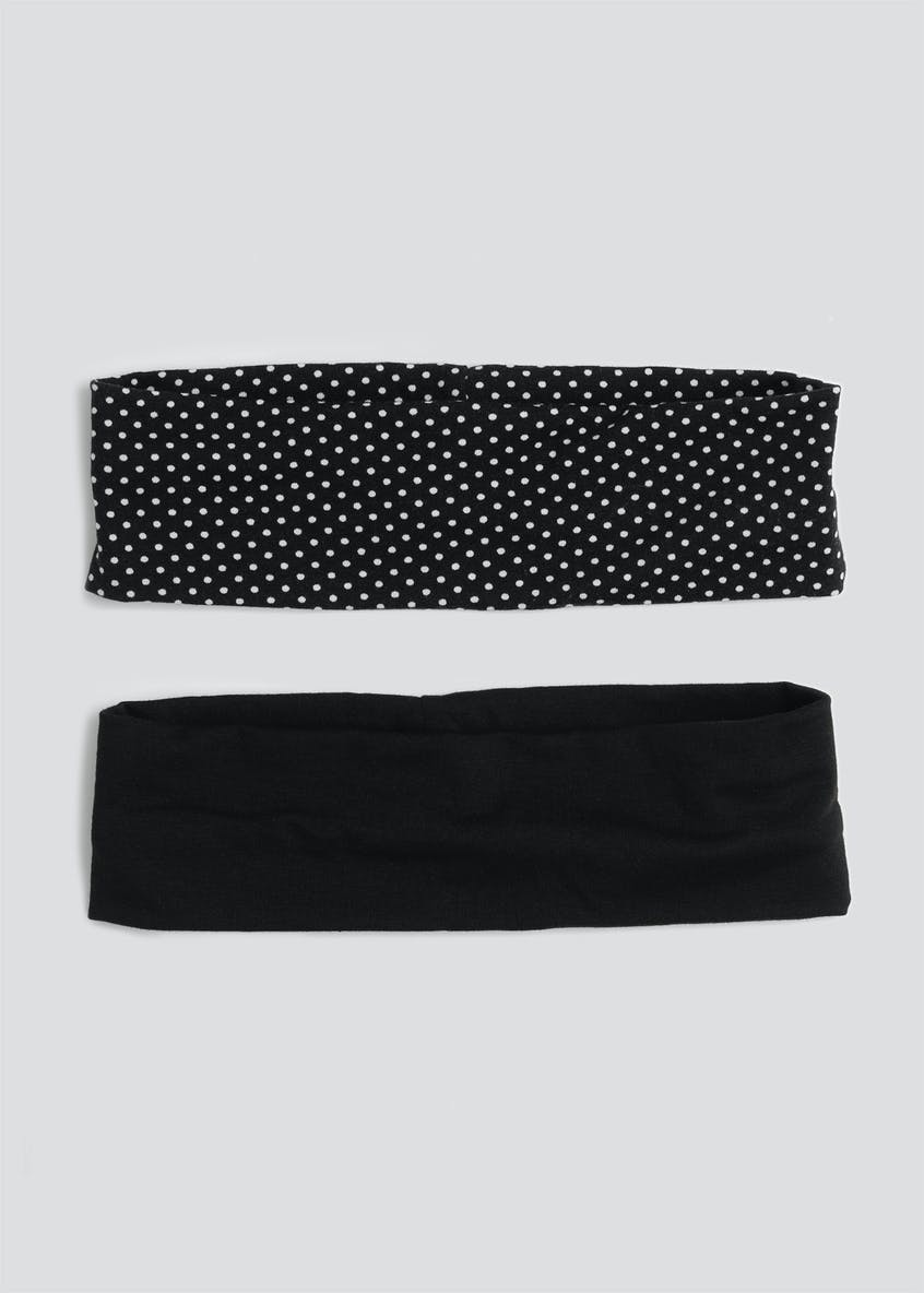 2 Pack Wide Polka Dot Jersey Headbands