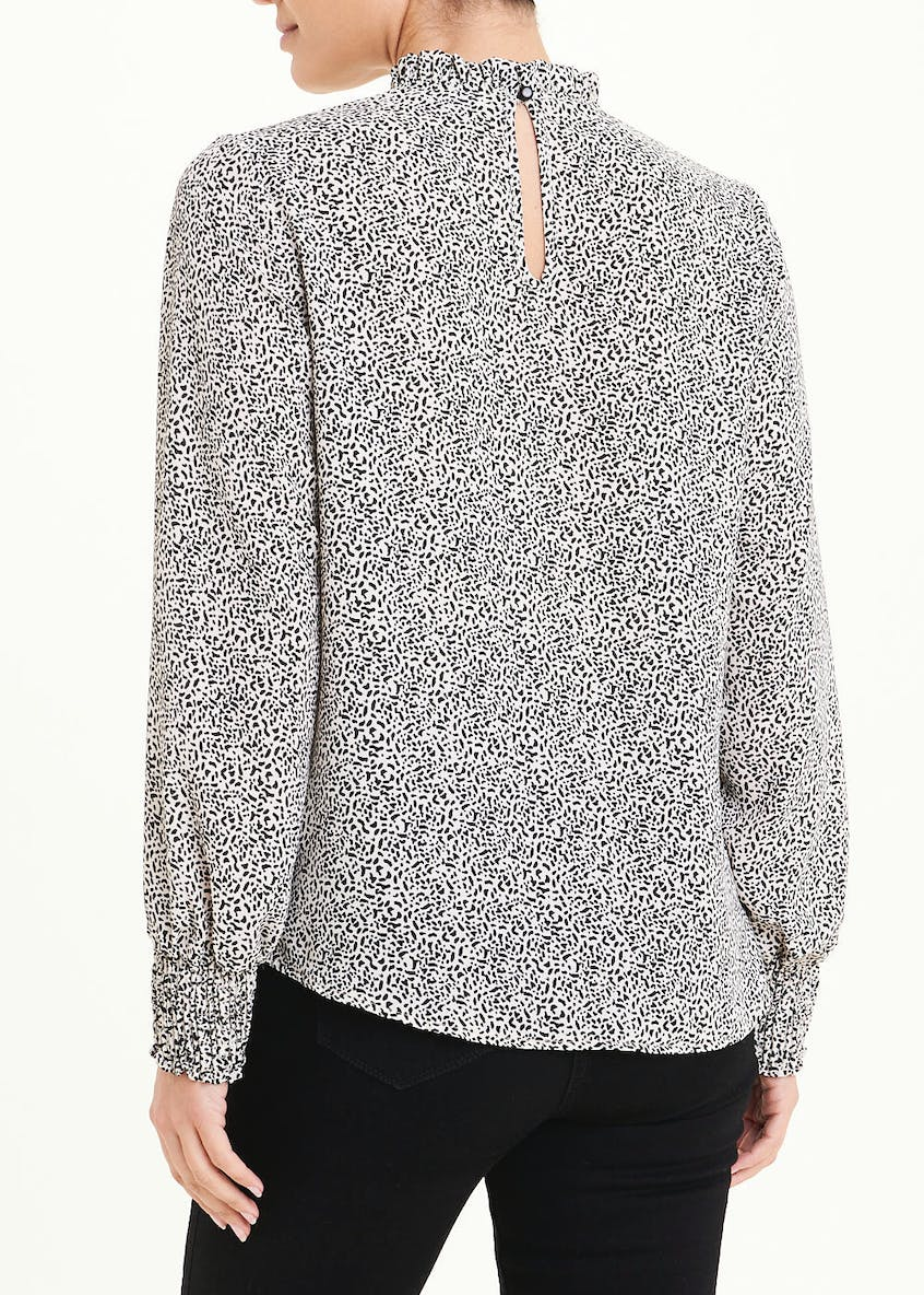 Long Sleeve Abstract Dot High Neck Blouse