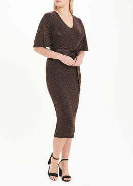 Bronze Short Sleeve Ribbed Sparkle Midi Dress