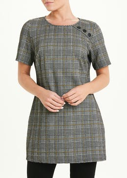 Short Sleeve Check Tunic Top
