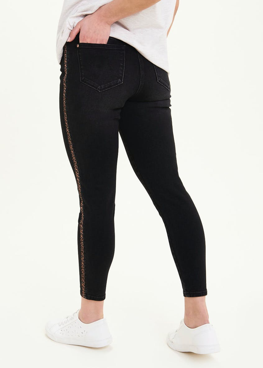 Papaya Petite April Leopard Side Stripe Jeans