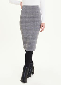 Papaya Petite Check Ponte Pencil Skirt