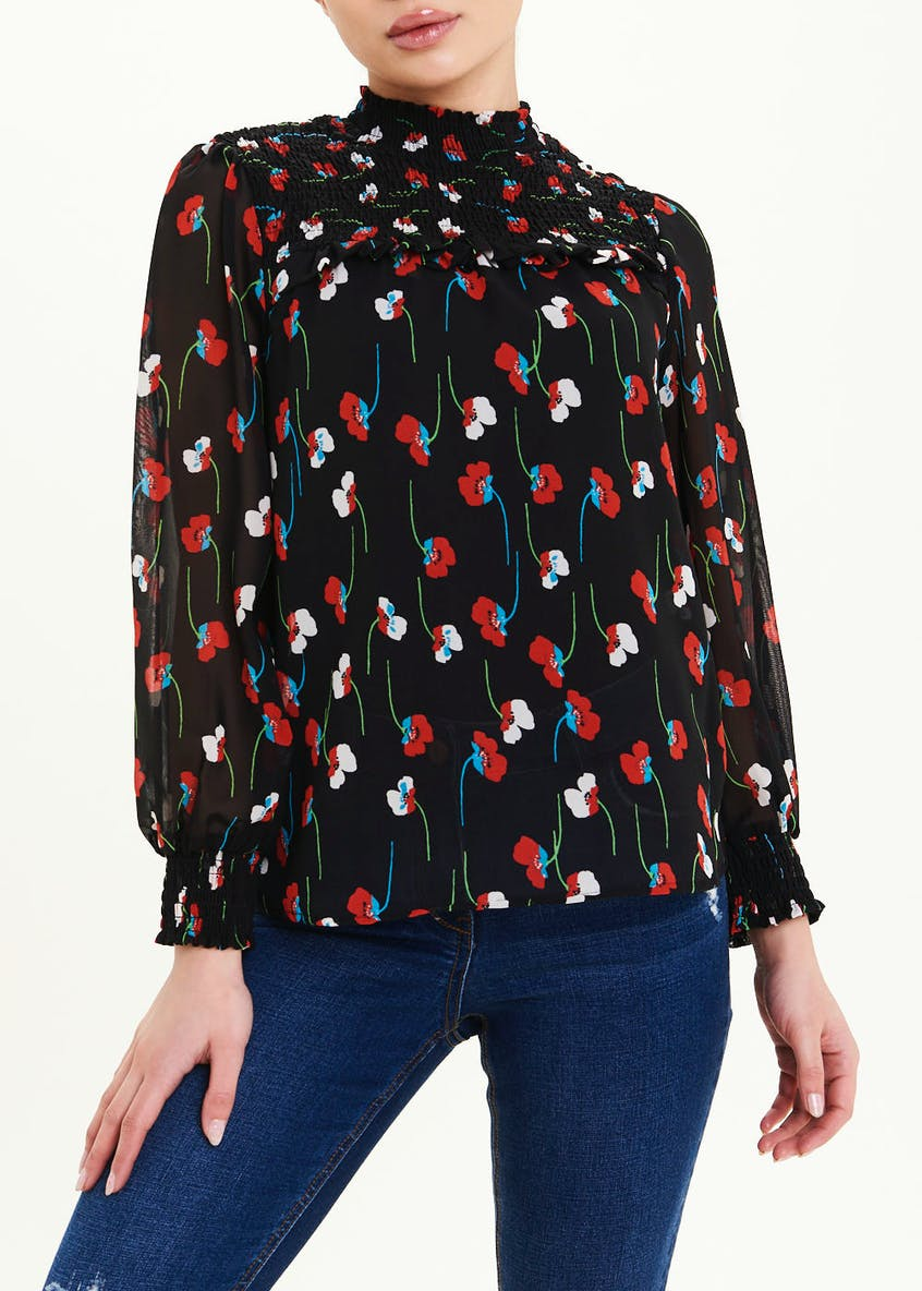 Papaya Petite Black Long Sleeve Poppy Print Blouse