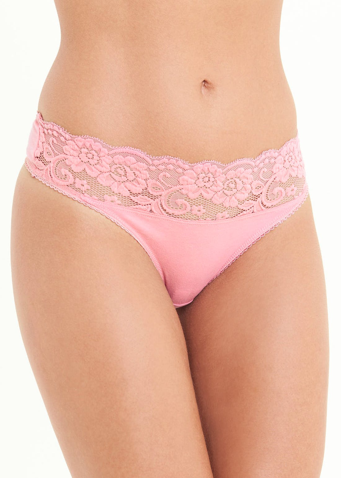 5 Pack Lace Trim Thongs