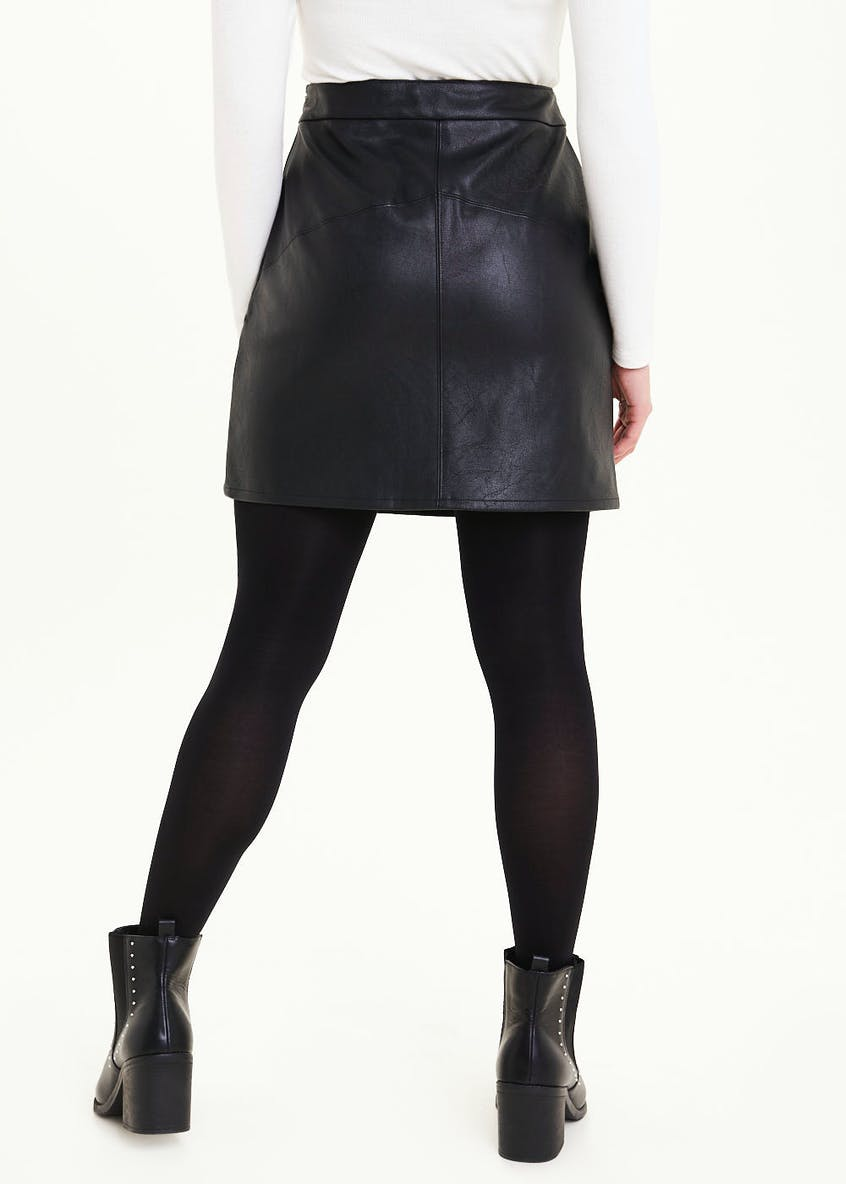 Papaya Petite PU Leather Look Mini Skirt
