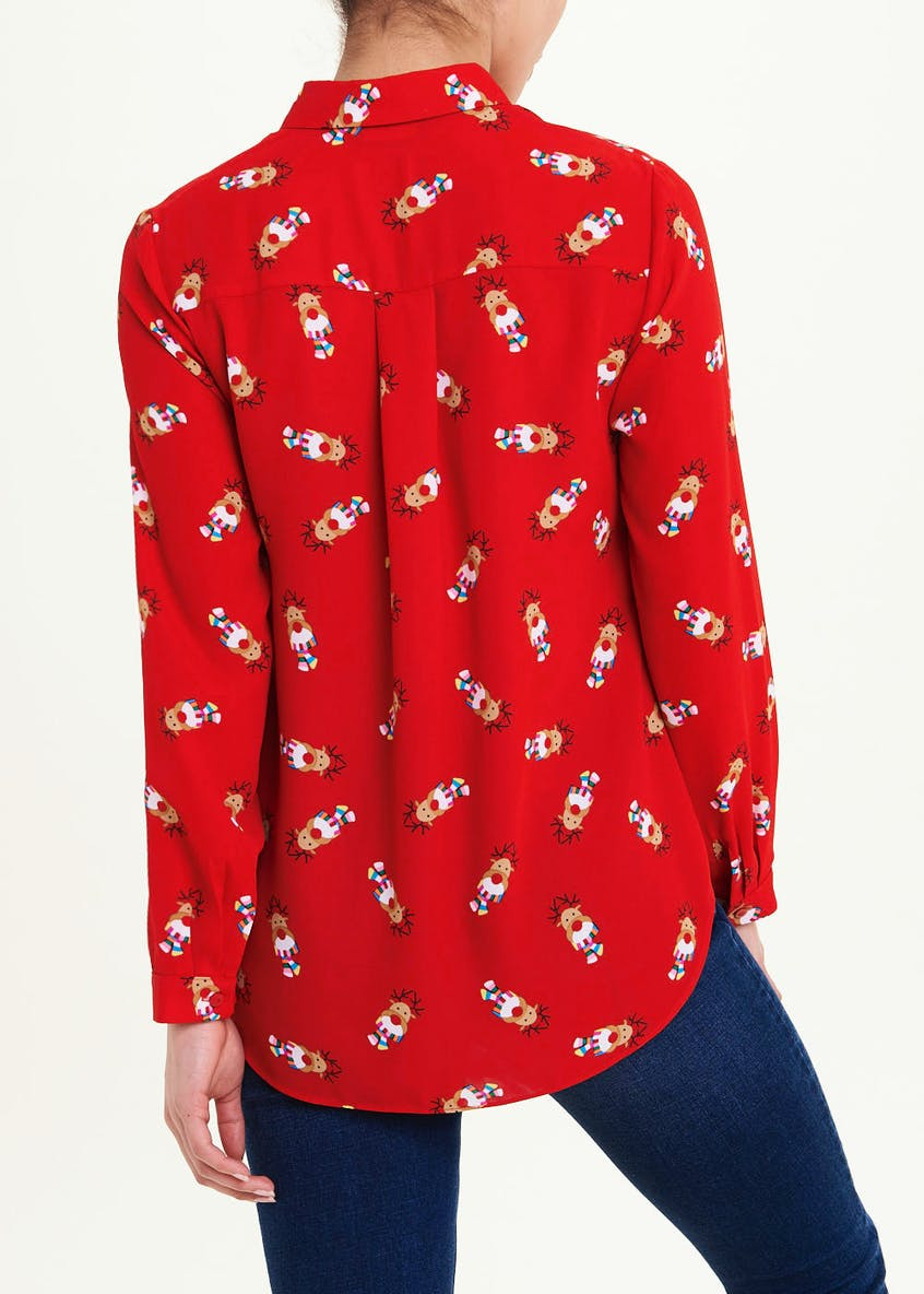 Papaya Petite Red Long Sleeve Reindeer Christmas Blouse