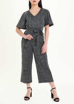 Papaya Petite Short Sleeve Ribbed Sparkle Jumpsuit