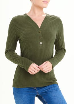 Long Sleeve Ribbed V-Neck Button Top