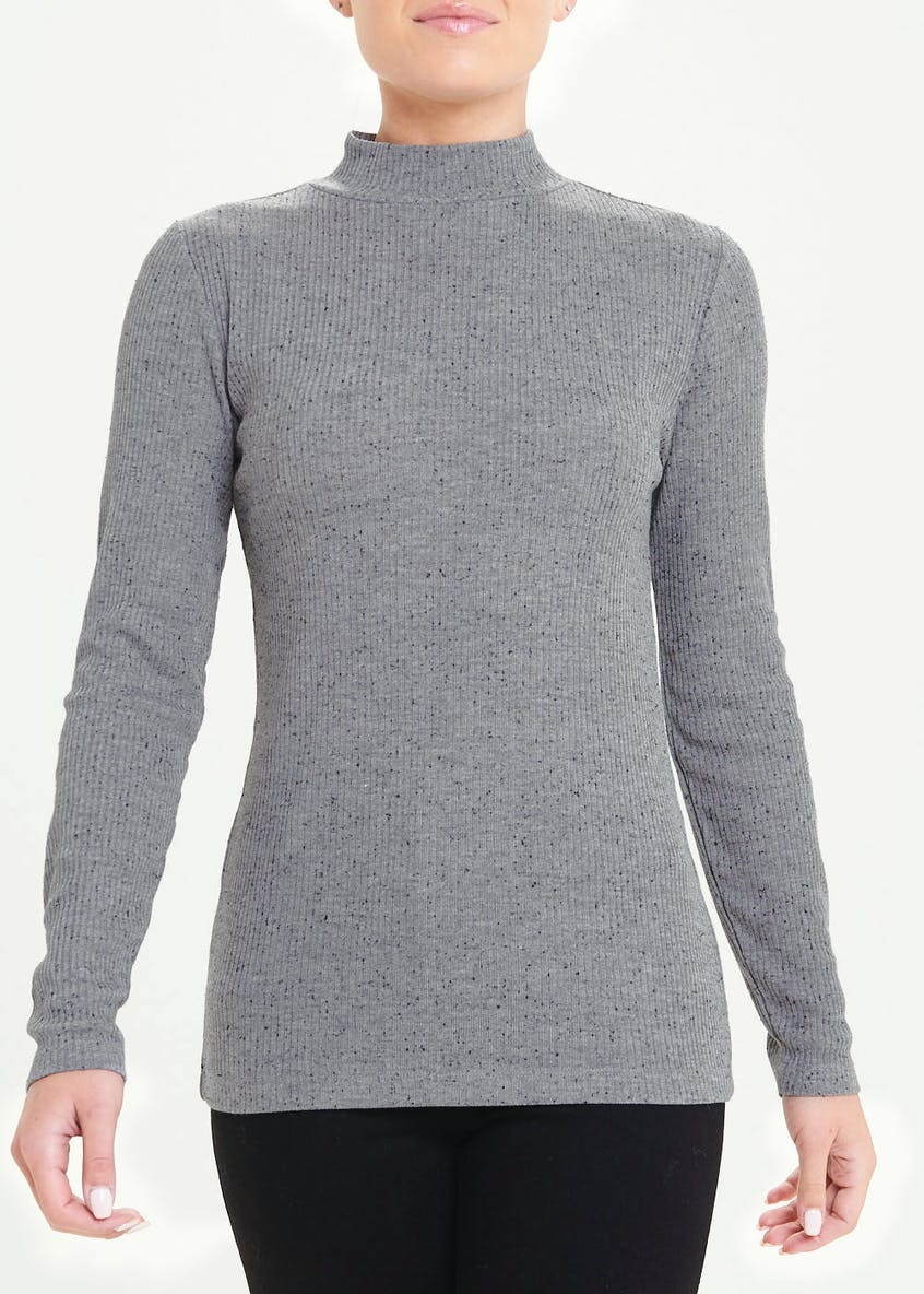 Long Sleeve Ribbed Funnel Neck Top