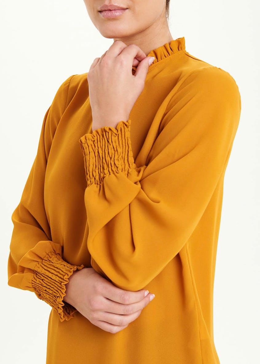Mustard Long Sleeve High Neck Blouse