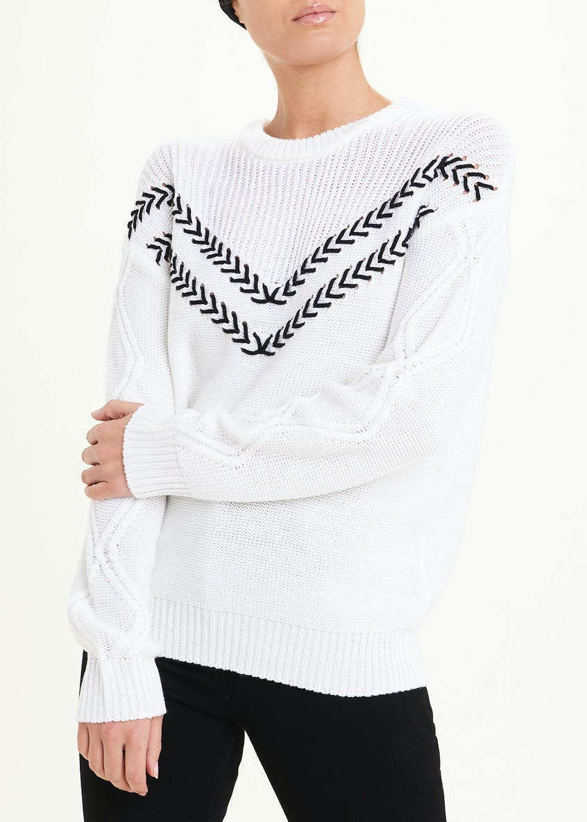 Chevron Stab Stitch Jumper