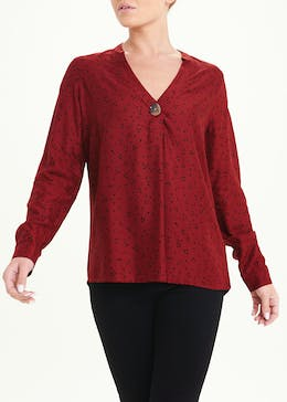 Rust Long Sleeve Ditsy Spot Blouse