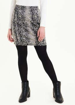 Papaya Petite Textured Snake Print Mini Skirt