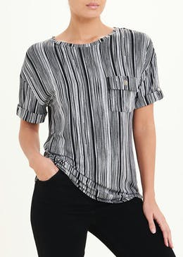 Short Sleeve Stripe Button Tab Top