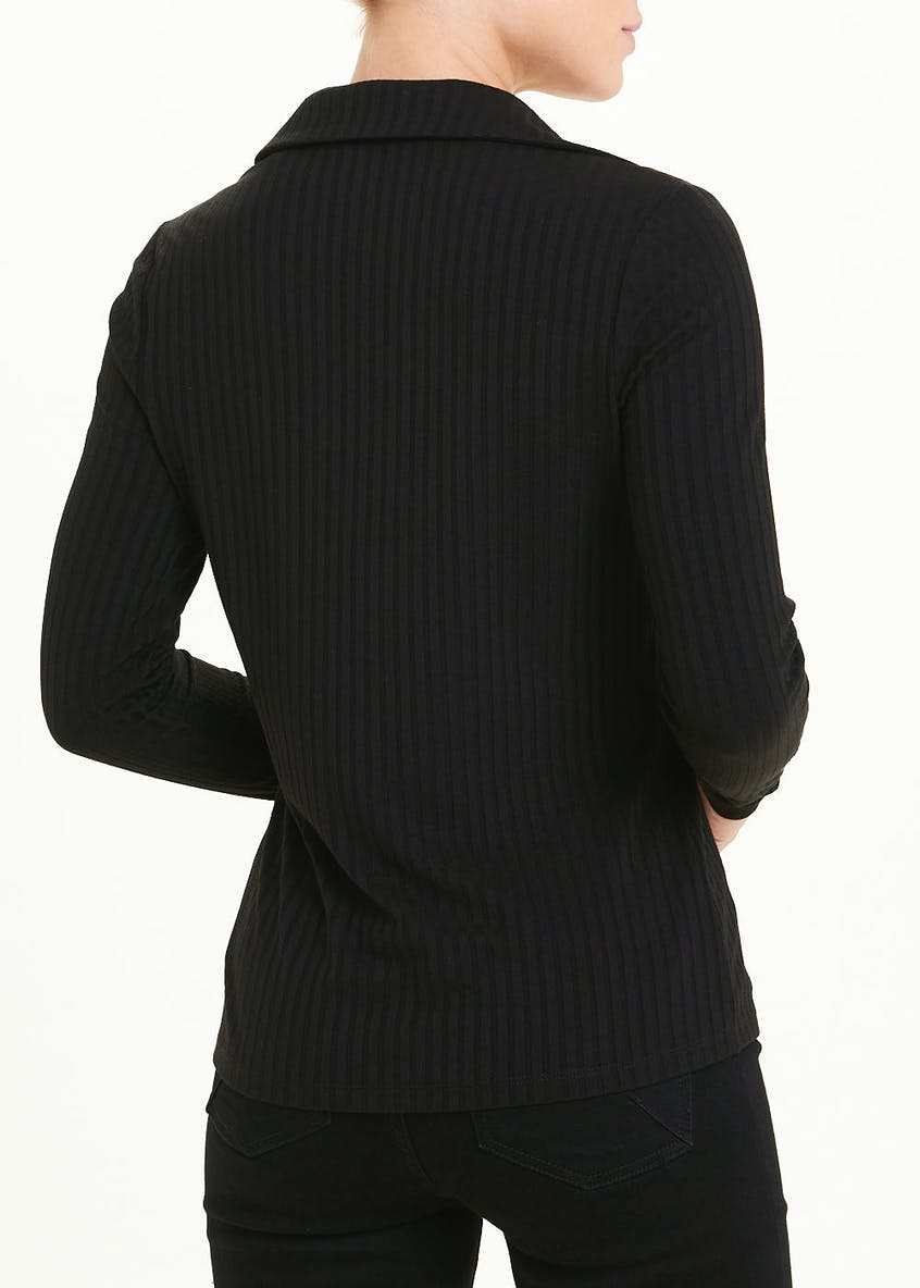 Long Sleeve Ribbed Collared Button Detail Top