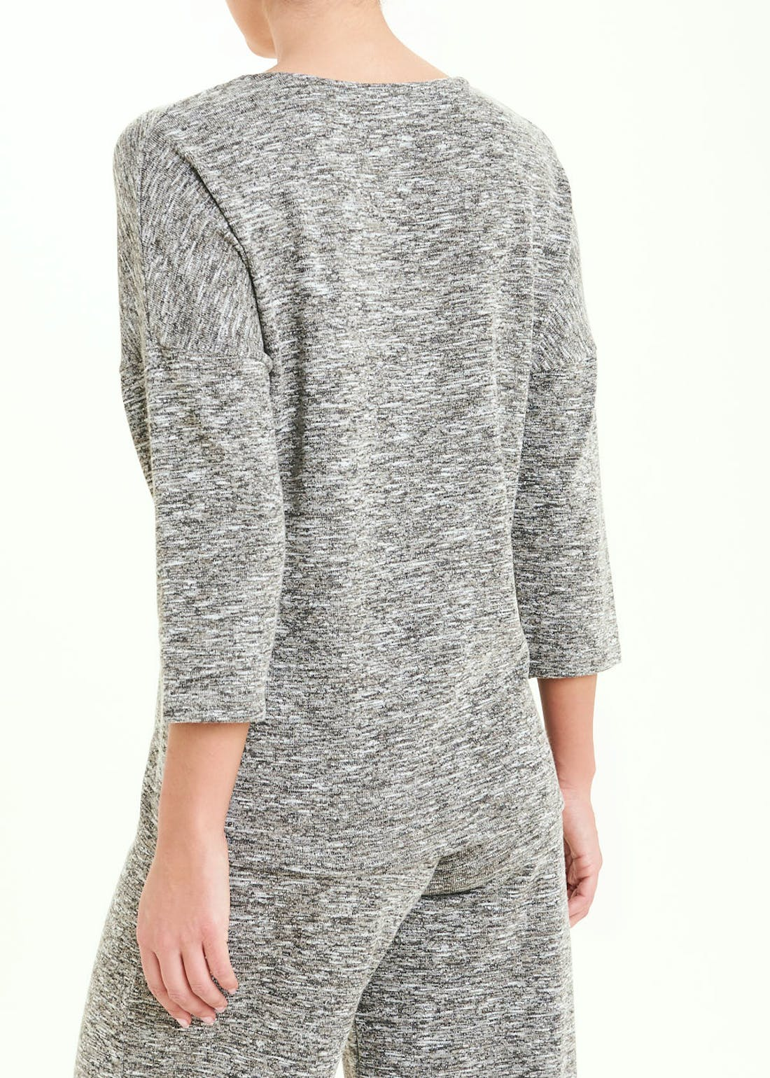 3/4 Sleeve Space Dye Ring Front Co-Ord Top