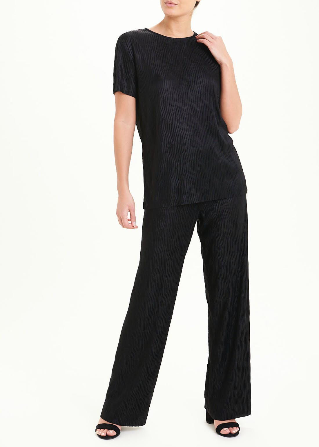 Short Sleeve Plisse Co-Ord Top