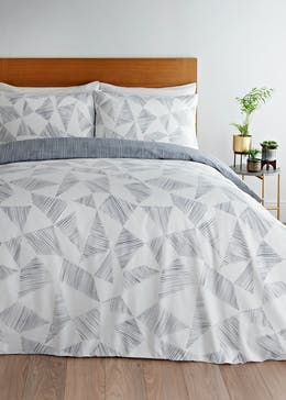 Reversible Geometric Sketch Duvet Cover