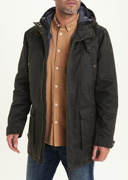 Morley Brown Waxed Longline Parka Jacket