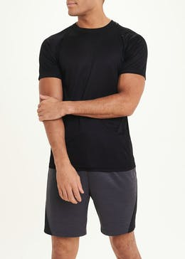 Souluxe Black Textured Basic Gym T-Shirt