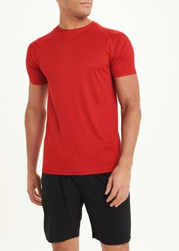 Souluxe Red Textured Basic Gym T-Shirt