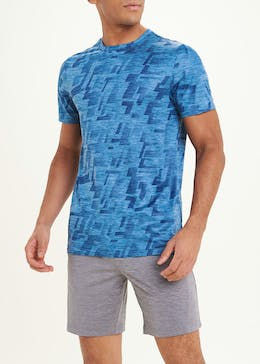 Souluxe Blue Abstract Print Gym T-Shirt