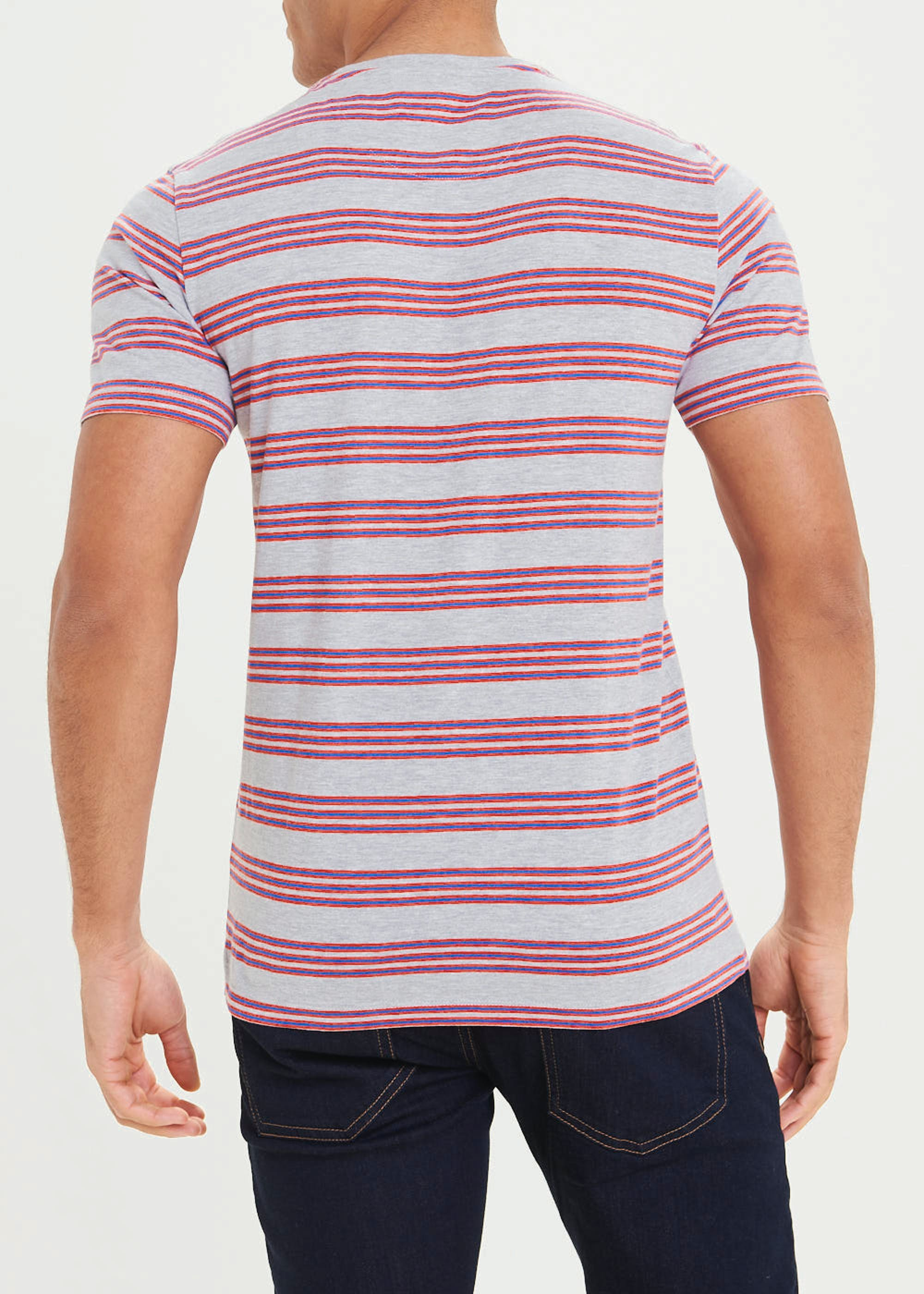 Stripe Crew Neck T-Shirt Grey 2b1z9e